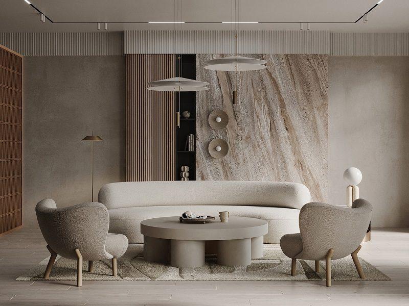 Decor trang trí nội thất phòng khách tối giản bằng bảng màu lặng