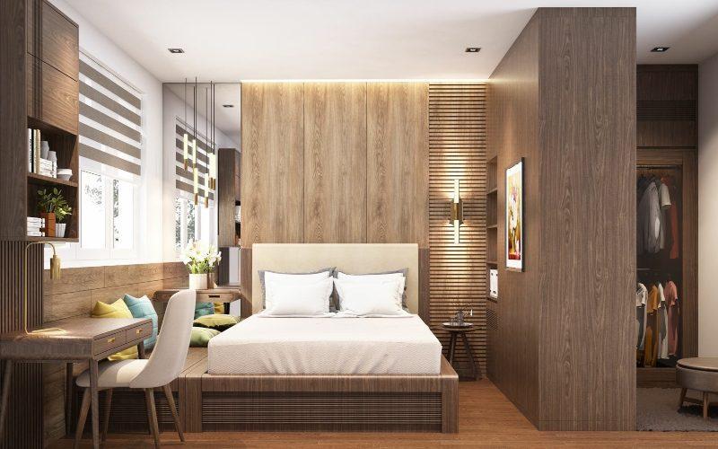 Nội thất phòng ngủ làm bằng gỗ