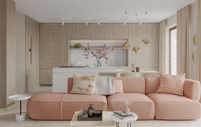 Phòng khách kiểu Hàn Quốc tông hồng đẹp