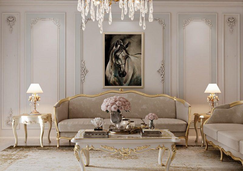 Gam màu pastel trong nội thất phòng khách cổ điển