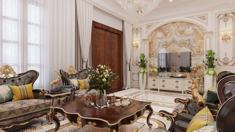 Không gian rộng rãi trong phòng khách cổ điển