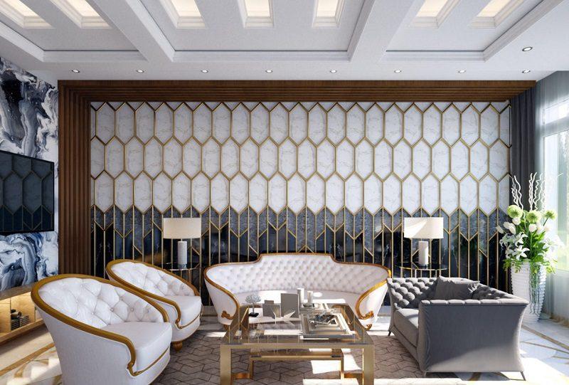 Tường ốp đá cẩm thạch ấn tượng cho phòng khách