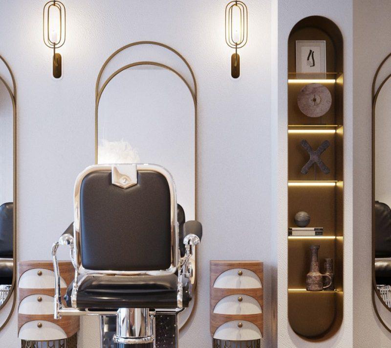 Nội thất tiện nghi và hiện đại tại khu vực cắt tóc
