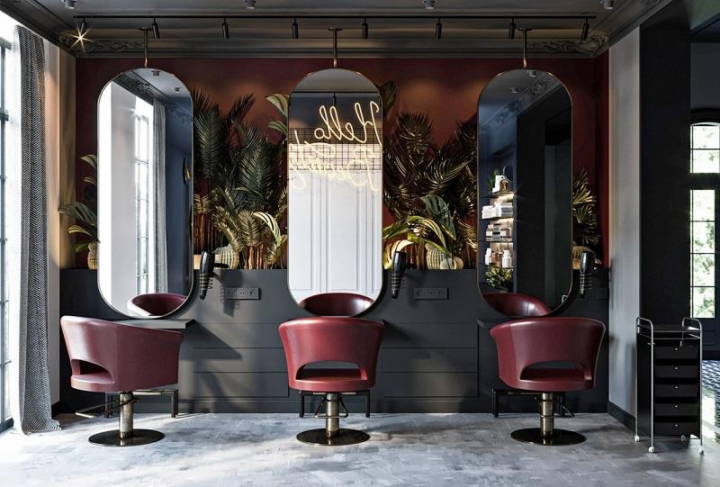 Thiết kế nội thất salon tóc phong cách Industry
