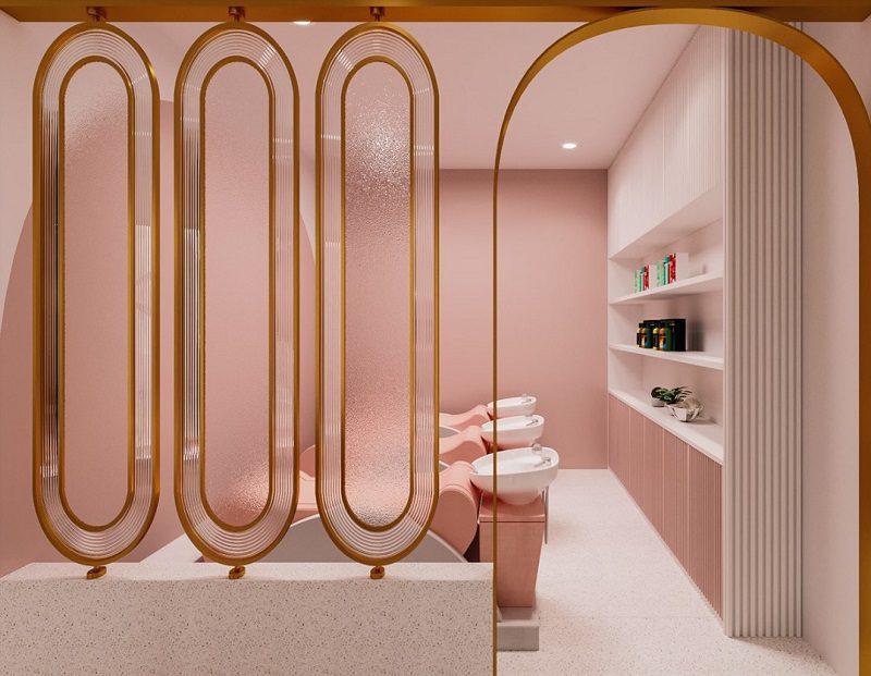 Thiết kế nội thất salon tóc khu vực gội đầu