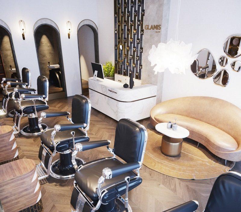 Khu vực tiếp đón khách trong salon tóc
