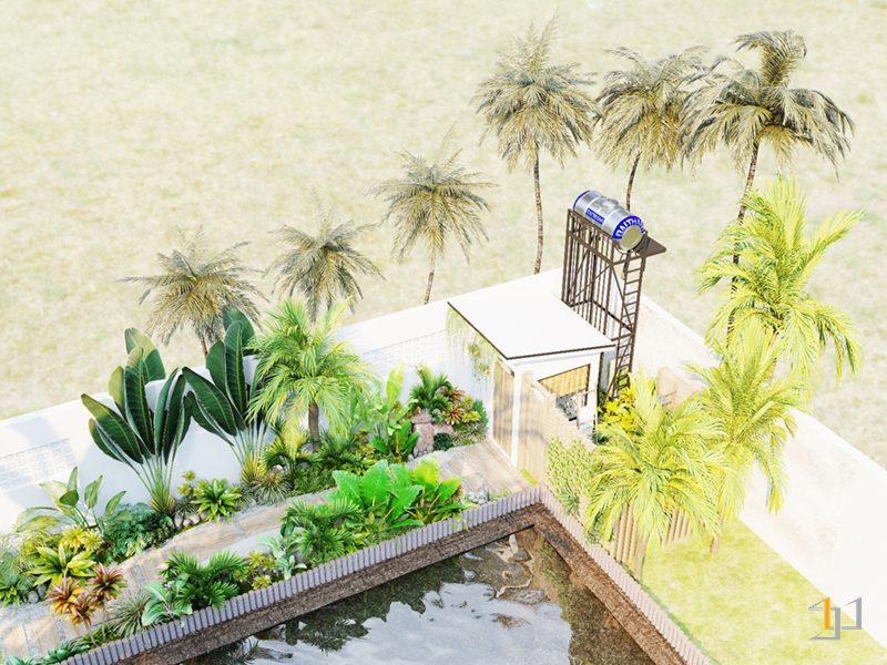Tổng quan thiết kế sân vườn và phòng tắm lộ thiên