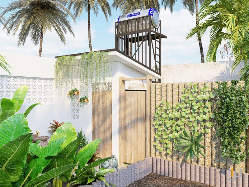 Hàng rào bên ngoài phòng tắm lộ thiên