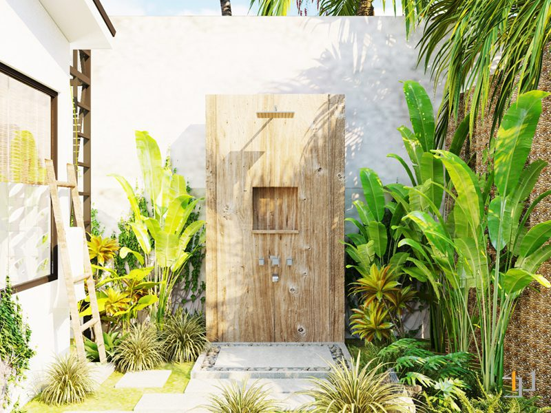 Cột tắm giả gỗ ngoài trời của phòng tắm