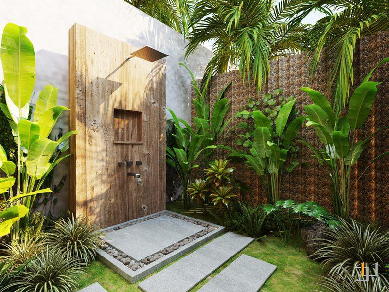 Vách tắm sỏi và cây cỏ của phòng tắm