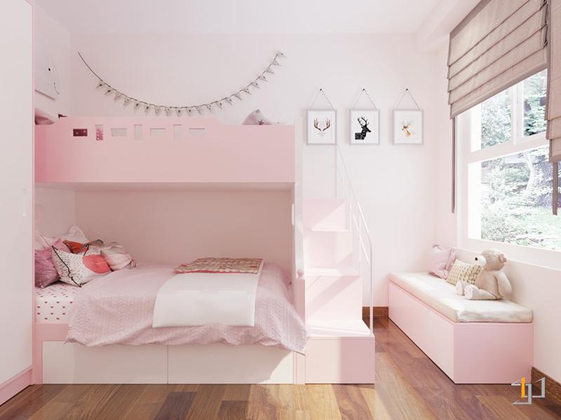 Thiết kế bục ngồi cạnh cửa sổ phòng ngủ nhỏ