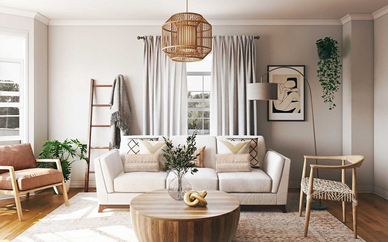 Phong cách Bohemian trang trí nội thất phòng khách đơn giản