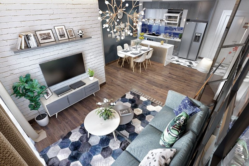 Không gian liền kề phòng khách và bếp tạo nên bầu không khí ấm cúng