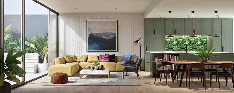 Bảng màu độc đáo ứng dụng nội thất phòng khách nhà cấp 4