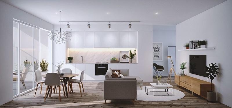 Không gian chung giữa bếp, phòng ăn và phòng khách