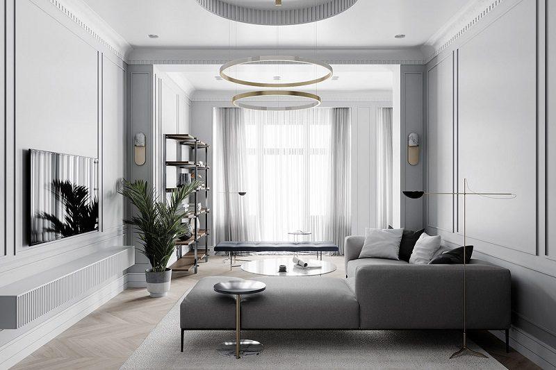 Ánh sáng trong nội thất phòng khách tân cổ điển