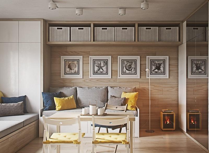 Không gian phòng khách ấm với nội thất thông minh