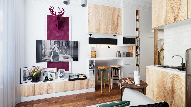 Bảng màu độc đáo cho mẫu thiết kế phòng khách nhỏ 10m2