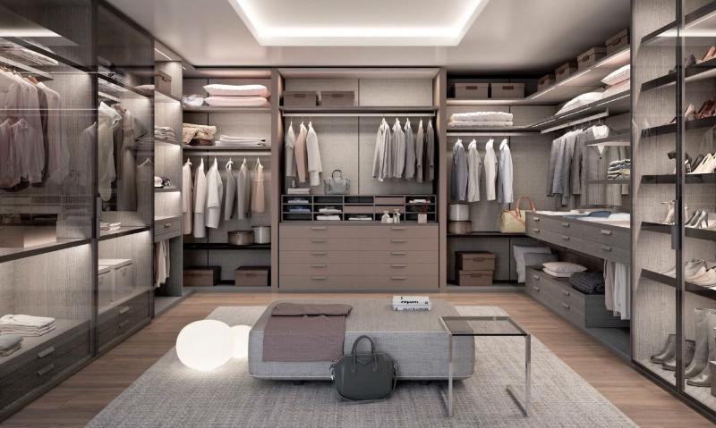 Thiết kế phòng quần áo đơn giản tông màu xám
