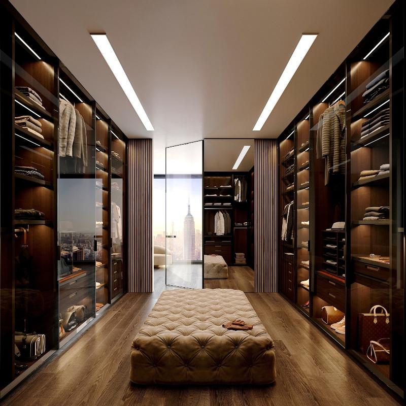 Phòng quần áo được ngăn cách với phòng ngủ bằng kính cường lực trong suốt