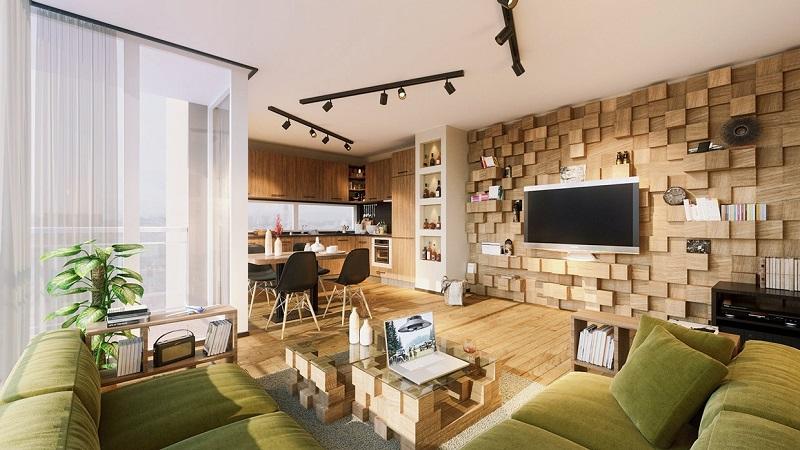 Trang trí sáng tạo trong nội thất phòng khách bằng gỗ