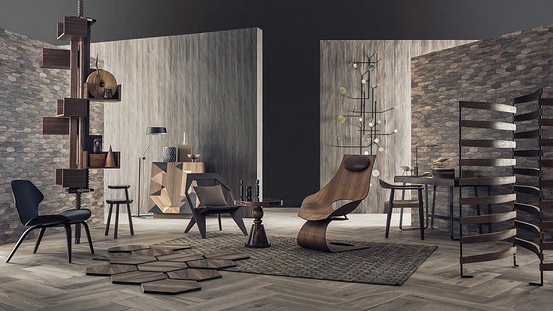 Vách ngăn trong trang trí nội thất phòng khách bằng gỗ