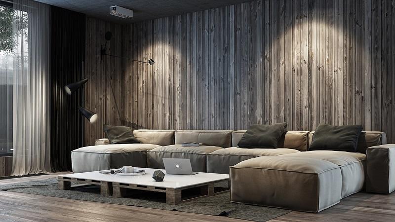 Sắp đặt ánh sáng khi trang trí nội thất phòng khách bằng gỗ