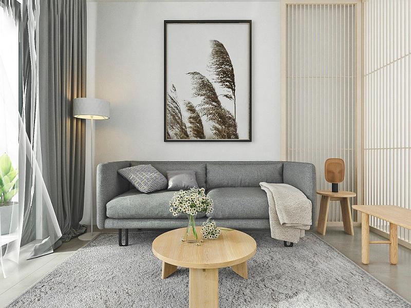 Trang trí nội thất phòng khách nhỏ với màu sắc hài hòa