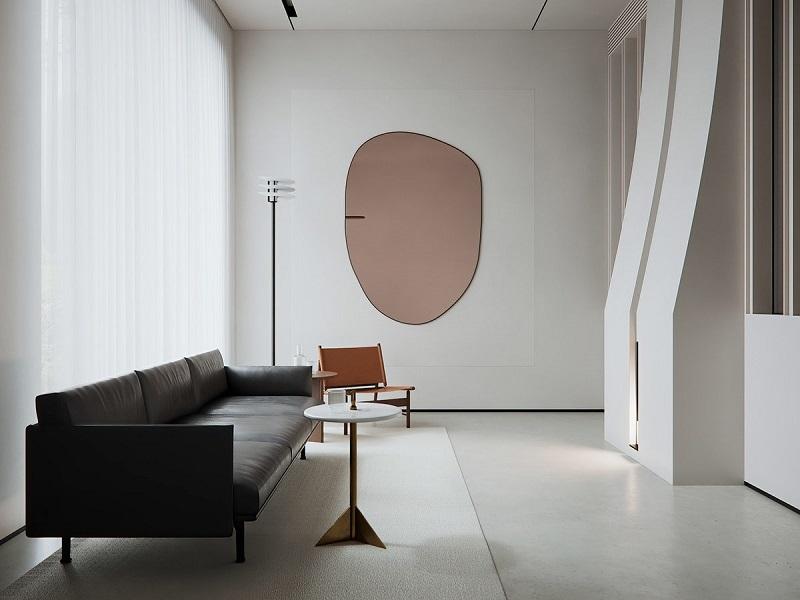 Trang trí nội thất phòng khách nhỏ với gương soi
