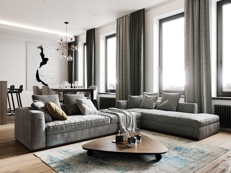 Trang trí nội thất phòng khách nhỏ với rèm cửa sổ độc đáo