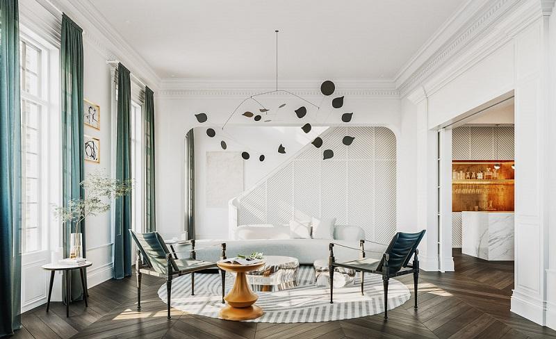 Không gian sang trọng trong các mẫu phòng khách đẹp Tân cổ điển