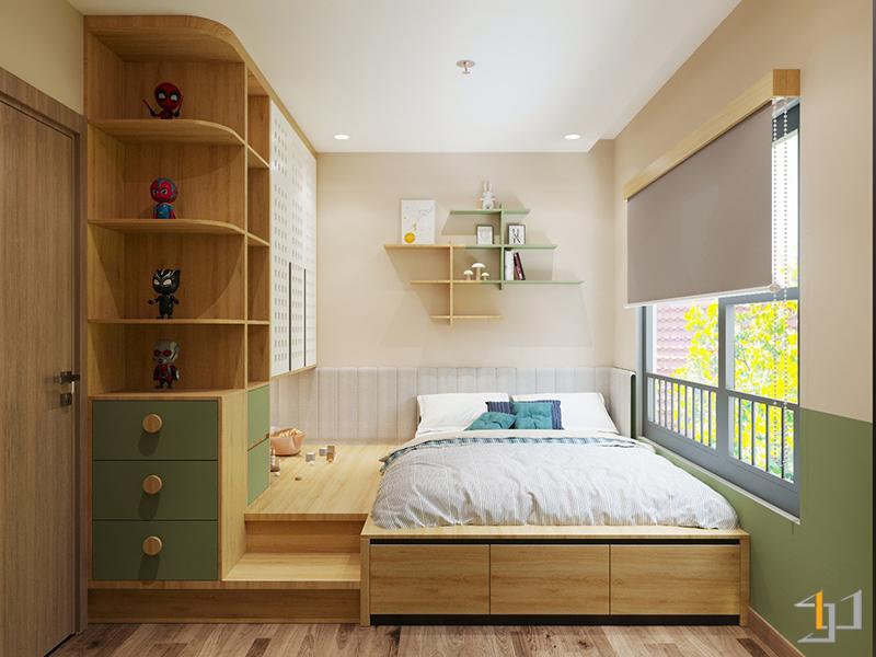 Thiết kế giường ngủ của trẻ kết hợp tủ quần áo