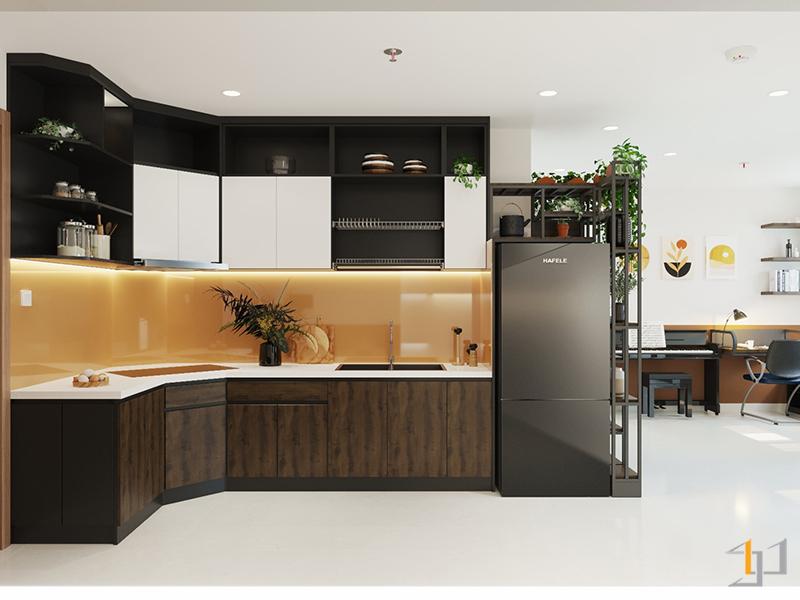 Thiết kế tủ chữ L tiết kiệm diện tích cho căn bếp
