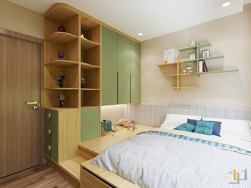 Cánh tủ quần áo phòng ngủ trẻ em với gam màu xanh pastel