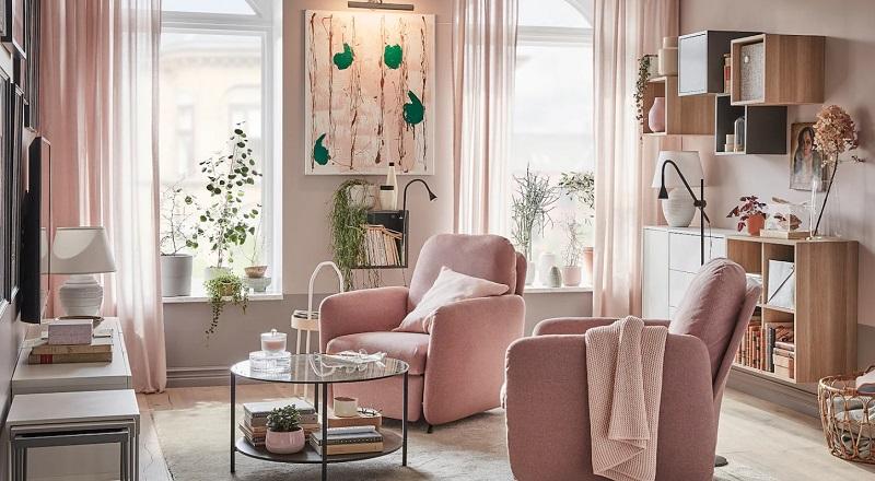 Gam màu pastel được dùng trong thiết kế phòng khách 12m2