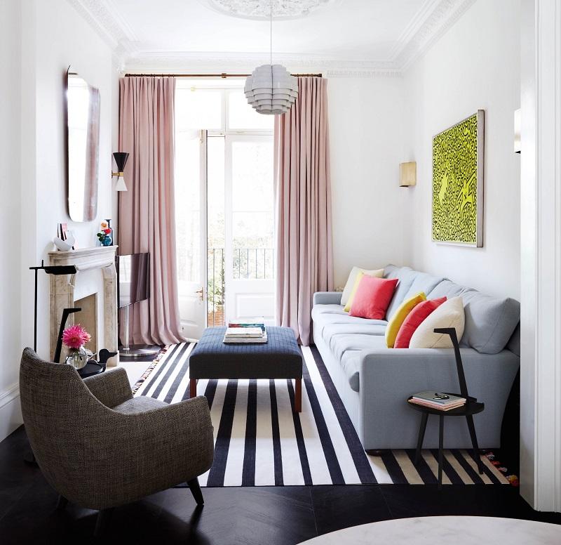 Kết hợp màu sắc độc đáo cho phòng khách 12m2