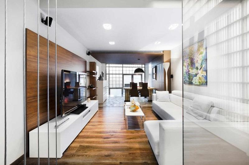 Ốp gỗ phòng khách giúp tăng hiệu quả thẩm mỹ đáng kể