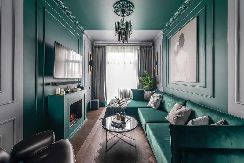 Phòng khách nhà ống đẹp theo phong cách tân cổ điển