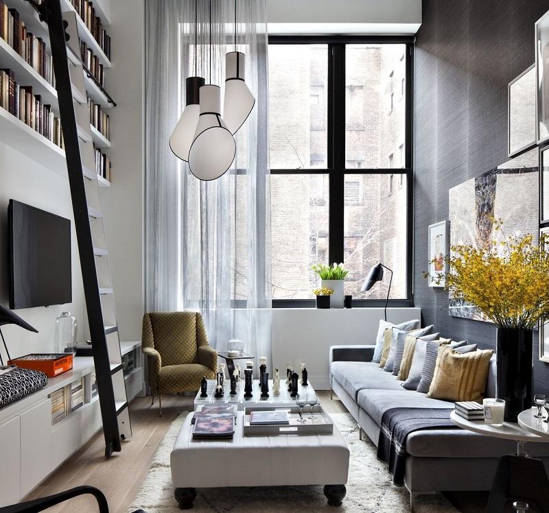 Tận dụng không gian tường trong thiết kế phòng khách nhà ống đẹp