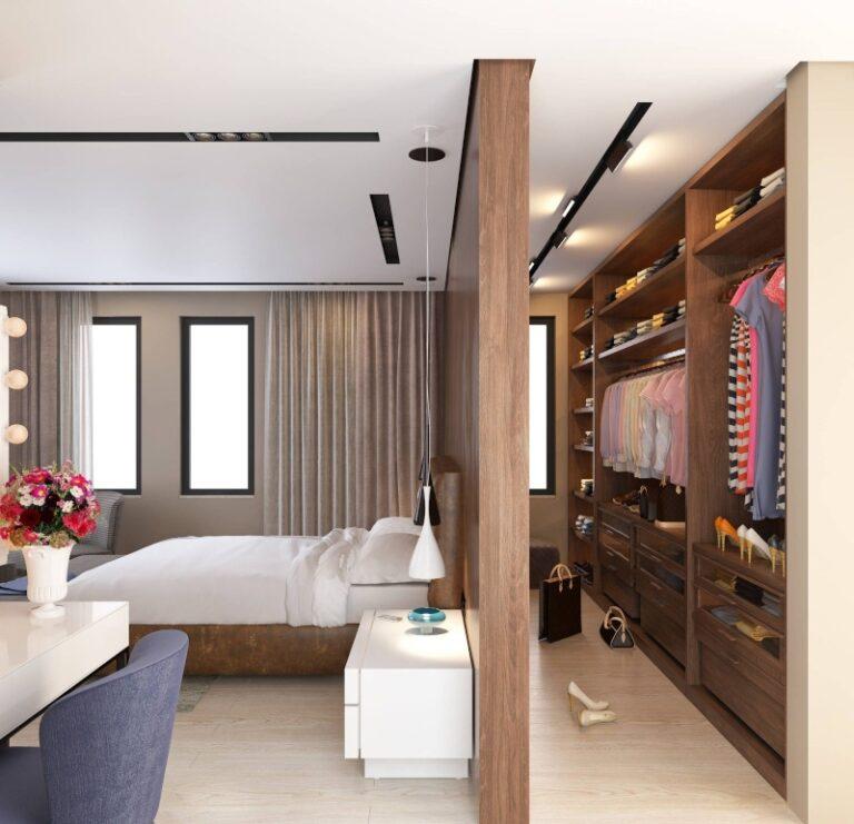 Phòng thay đồ được bố trí trong phòng ngủ và ngăn cách bằng vách ngăn