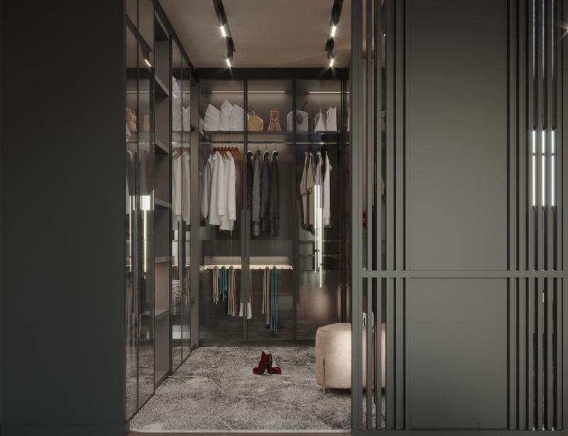 Phòng thay đồ được ngăn cách với phòng ngủ bằng cửa lùa