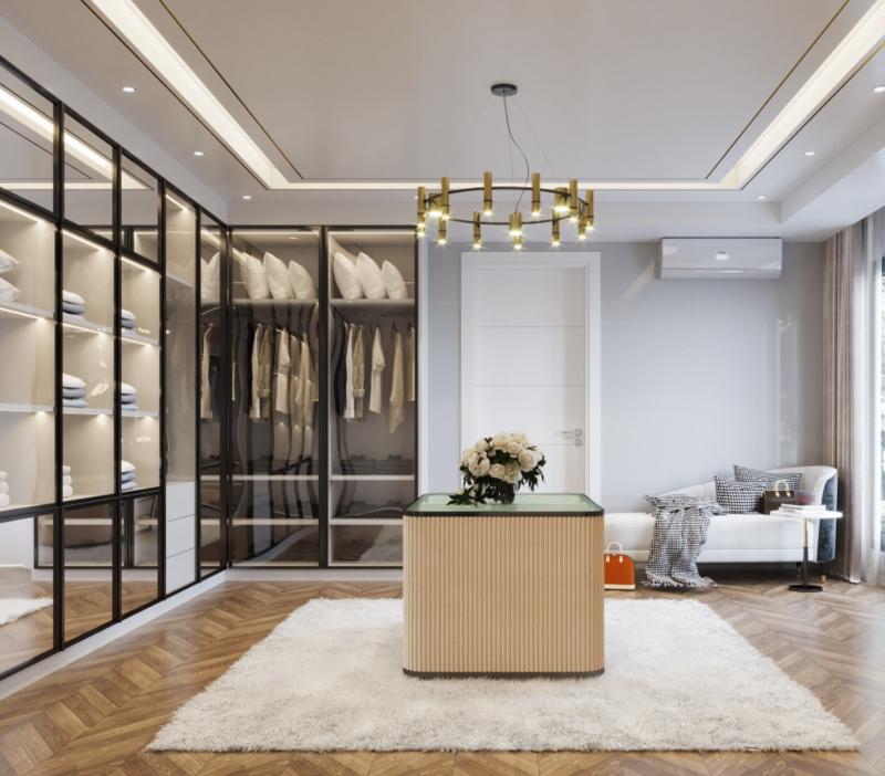 Phòng thay đồ rộng rãi với cấu trúc không gian vuông vức