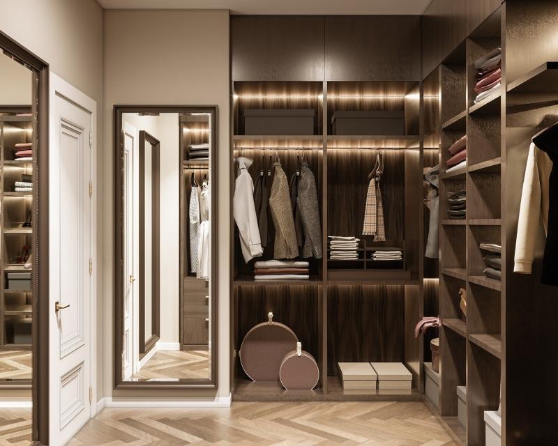Phòng quần áo tông màu trung tính trầm ấm
