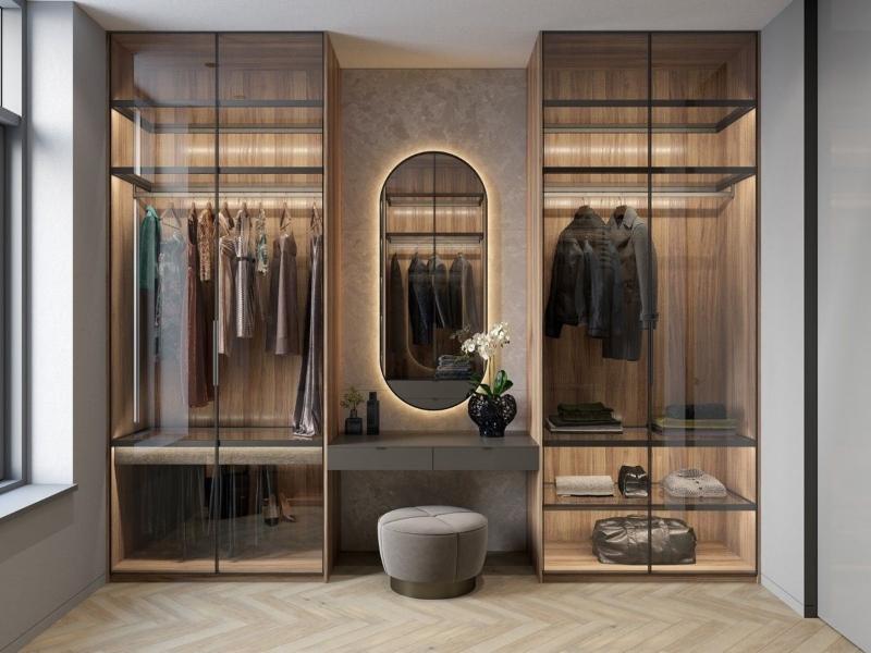 Không gian lưu trữ quần áo được tạo nên từ sự tận dụng góc tường